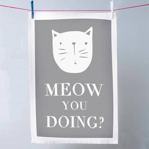 'Meow You Doing?' Cat Tea Towel