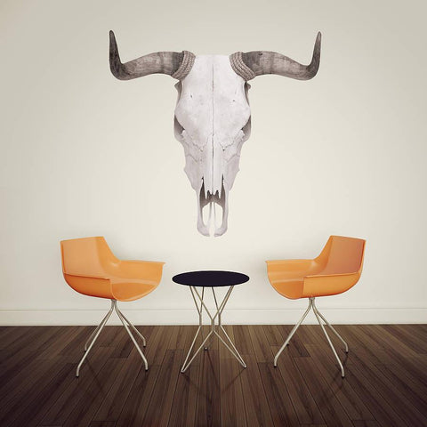 Monochrome Stag And Bull Skull Wall Sticker - Oakdene Designs - 1