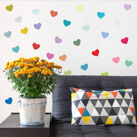 Multicoloured Heart Wall Sticker Set - Oakdene Designs - 1