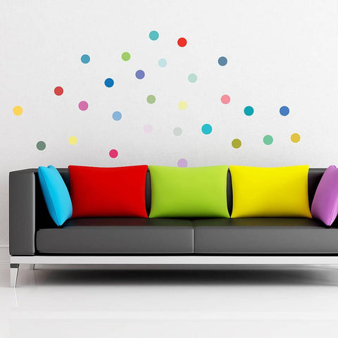 Multicoloured Polka Dot Wall Sticker Set - Oakdene Designs - 1