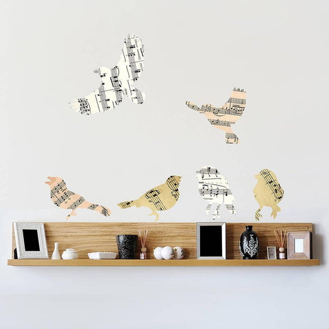 'Music Sheet Birds' Vinyl Wall Stickers - Oakdene Designs - 1