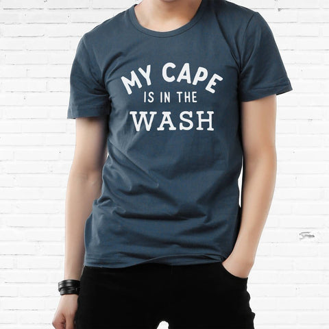 'My Cape Is In The Wash' Men's Cotton Dark Blue T Shirt