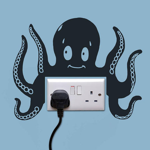Octopus Power Socket Wall Sticker - Oakdene Designs - 1
