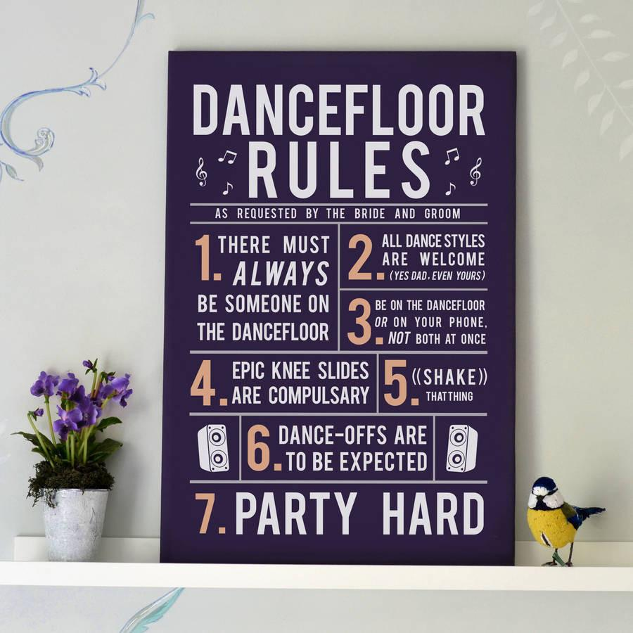 Party Dance Floor Rules Canvas Print