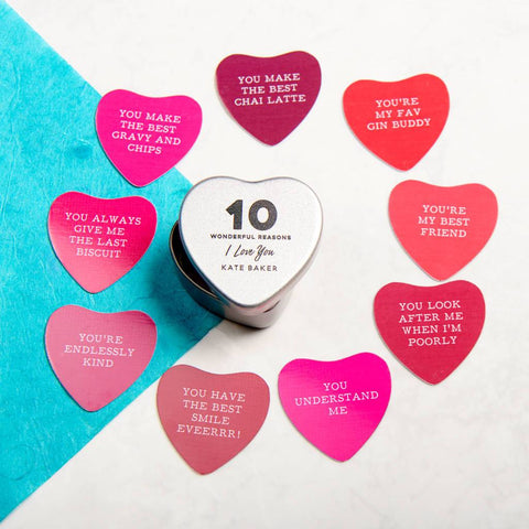 Personalised 10 Reasons I Love You Heart Tin