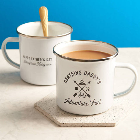 Personalised 'Adventure Fuel' Enamel Mug