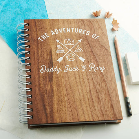 Personalised 'Adventures Of' Walnut Hobby Notebook