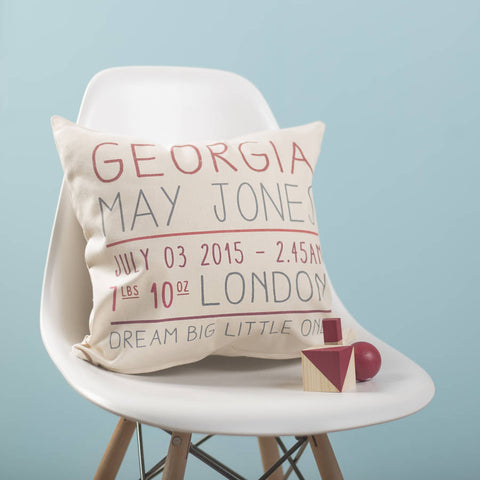 Personalised Baby Details Cushion