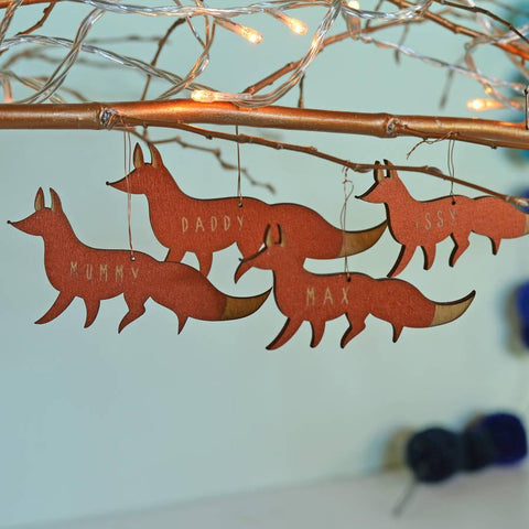 Personalised Bamboo Fox Family Decorations - Oakdene Designs
