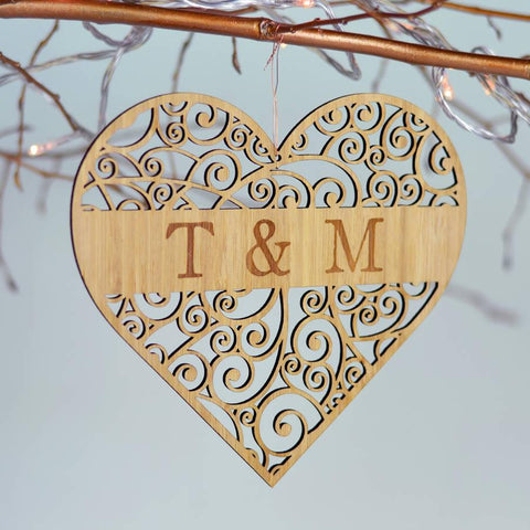 Personalised Bamboo Love Heart - Oakdene Designs - 1