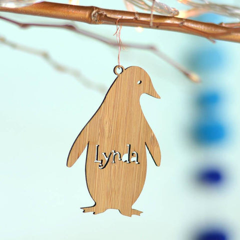 Personalised Bamboo Pengin Christmas Decoration - Oakdene Designs