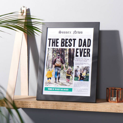 Personalised Best Dad Newspaper Photo Print
