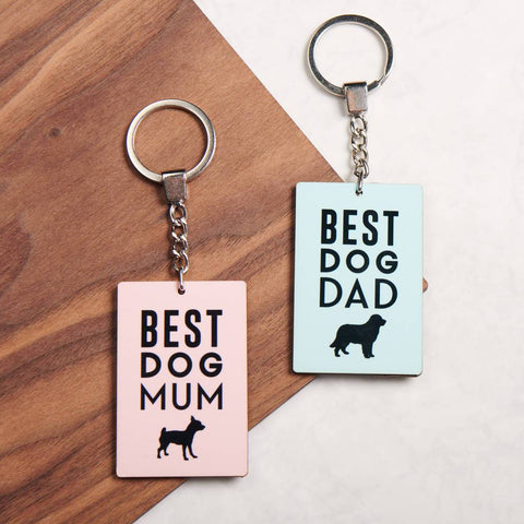 Personalised Best Dog Mum Or Dad Key Ring
