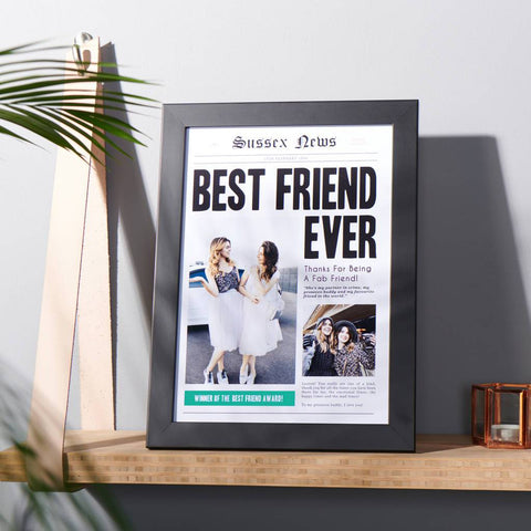 Personalised Best Friend Newspaper Photo Print