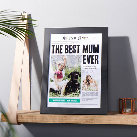 Personalised Best Mum Newspaper Photo Print