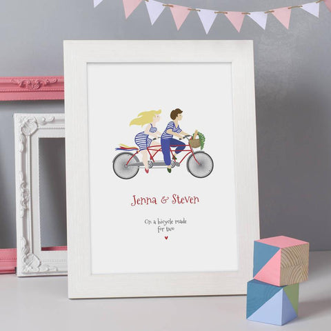 Personalised 'Bicycle Made For Two' Print - Oakdene Designs - 1