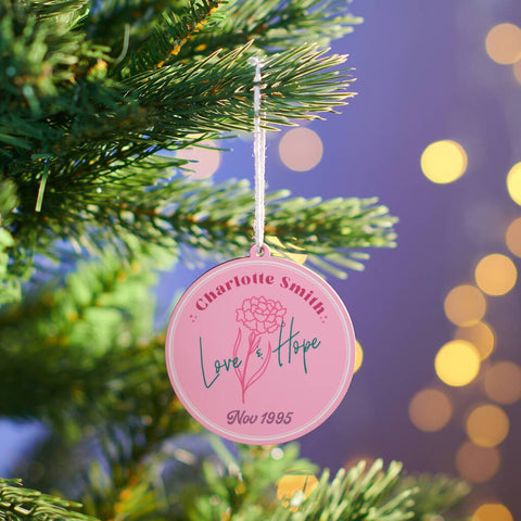 Personalised Birth Flower Christmas Bauble