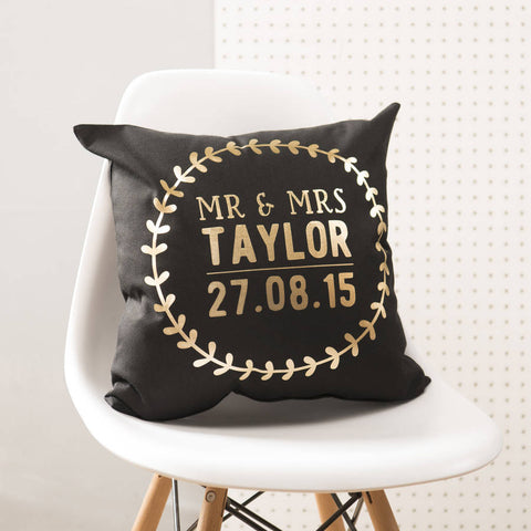 Personalised Black And Gold Wedding Details Cushion