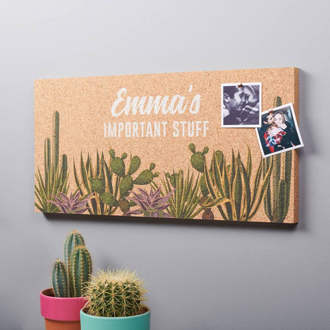 Personalised Cactus Cork Pin Board