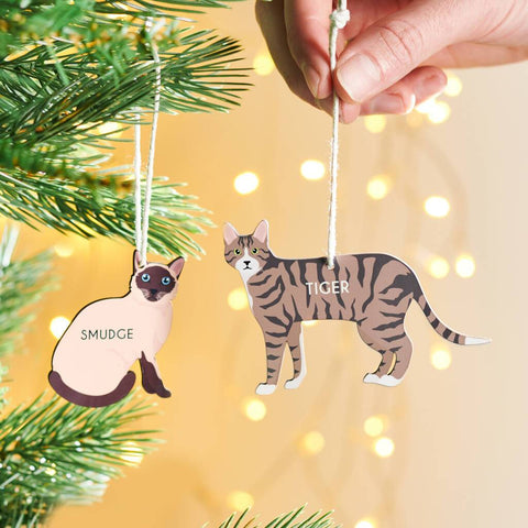 Personalised Cat Christmas Hanging Decoration