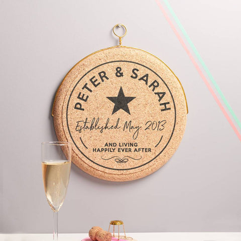 Personalised Celebratory Anniversary Hanging Cork Print