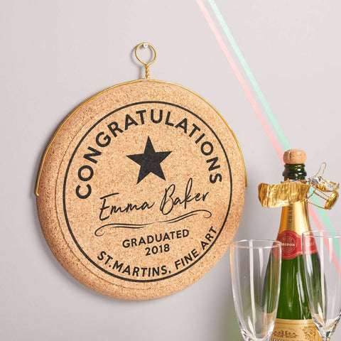 Personalised Celebratory Graduation Hanging Cork Print
