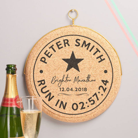 Personalised Celebratory Marathon Hanging Cork Print