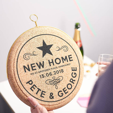 Personalised Celebratory New Home Hanging Cork Print