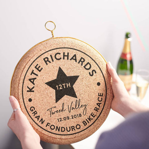 Personalised Celebratory Sporting Hanging Cork Print
