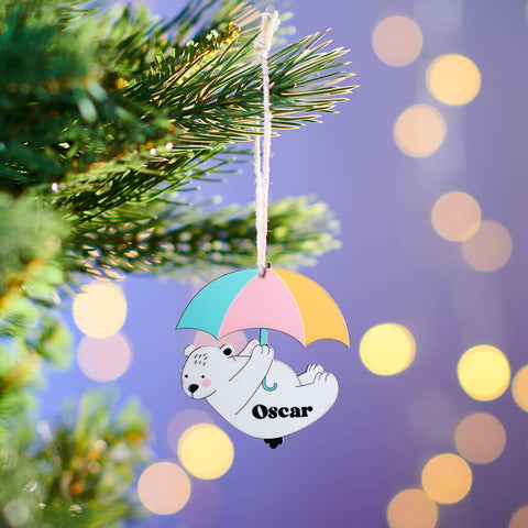 Personalised Children's Bear Christmas Decoration