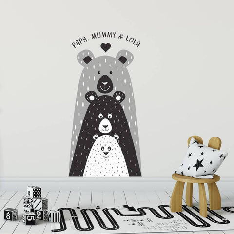Personalised Children's Bear Family Wall Sticker