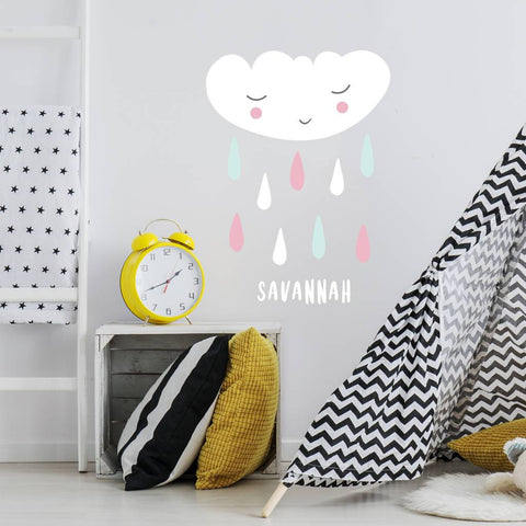 Personalised Children's Cloud And Rain Wall Sticker