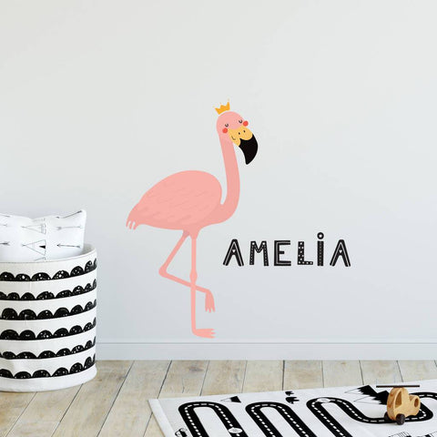 Personalised Children's Flamingo Wall Sticker
