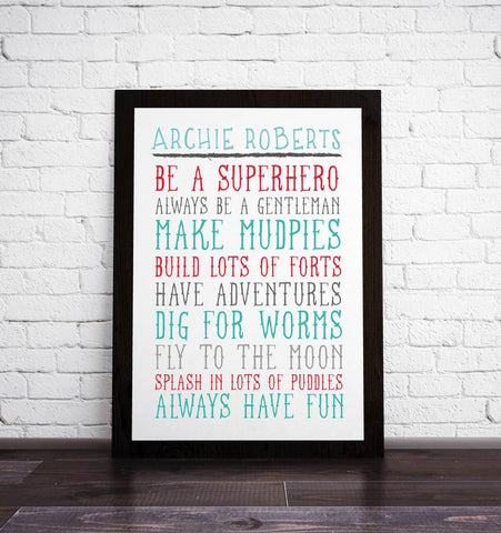 Personalised Children's Rule Print - Oakdene Designs - 1