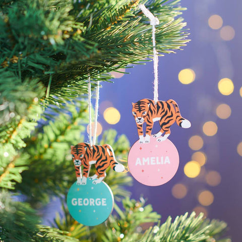 Personalised Children's Tiger Christmas Decoration