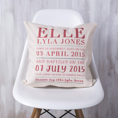 Personalised Christening Cushion