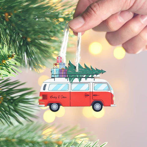 Personalised Christmas Campervan Hanging Decoration