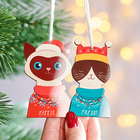 Personalised Christmas Cat Hanging Decoration