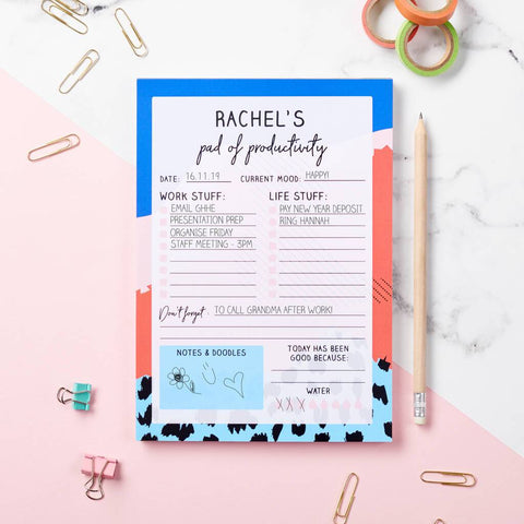 Personalised Colourful Productivity Pad Desk Planner