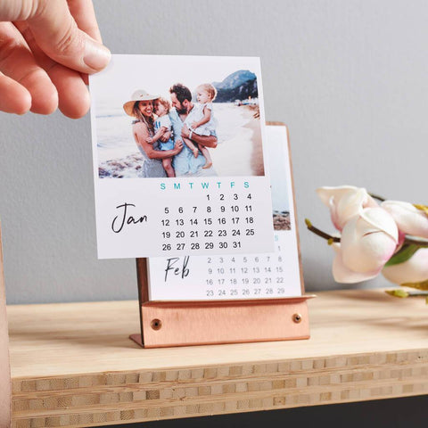 Personalised Copper And Walnut Photo Calendar