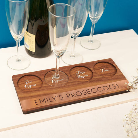 Personalised Copper And Walnut Prosecco Holder