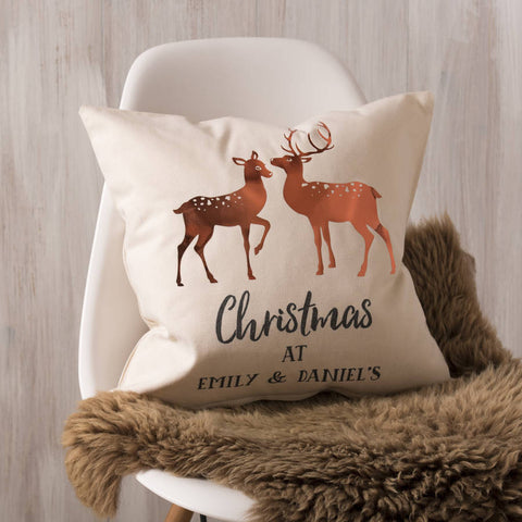 Personalised Copper Christmas Deer Cushion
