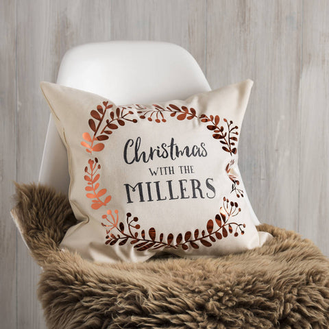 Personalised Copper Christmas Family Cushion
