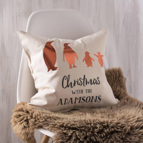 Personalised Copper Family Penguin Cushion