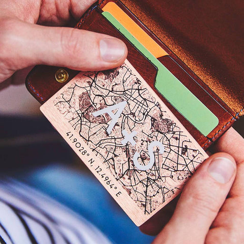 Personalised Copper Special Location Map Wallet Card