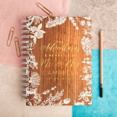 Personalised Couples Adventure Gold Walnut Journal