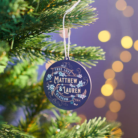 Personalised Couples Art Deco Style Christmas Bauble