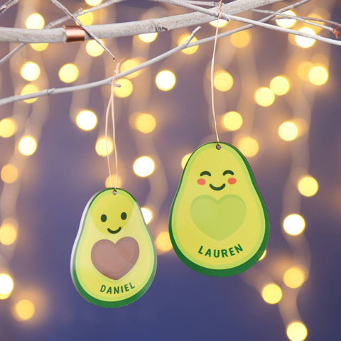 Personalised Couples Avocado Christmas Decoration