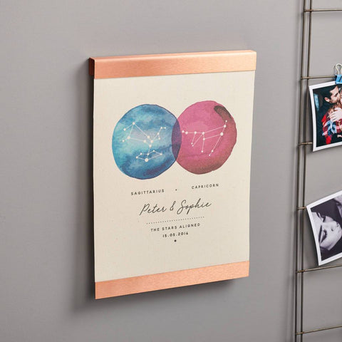 Personalised Couples Constellation Copper Canvas Print