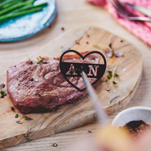 Personalised Couples Initial Heart Steak Brander